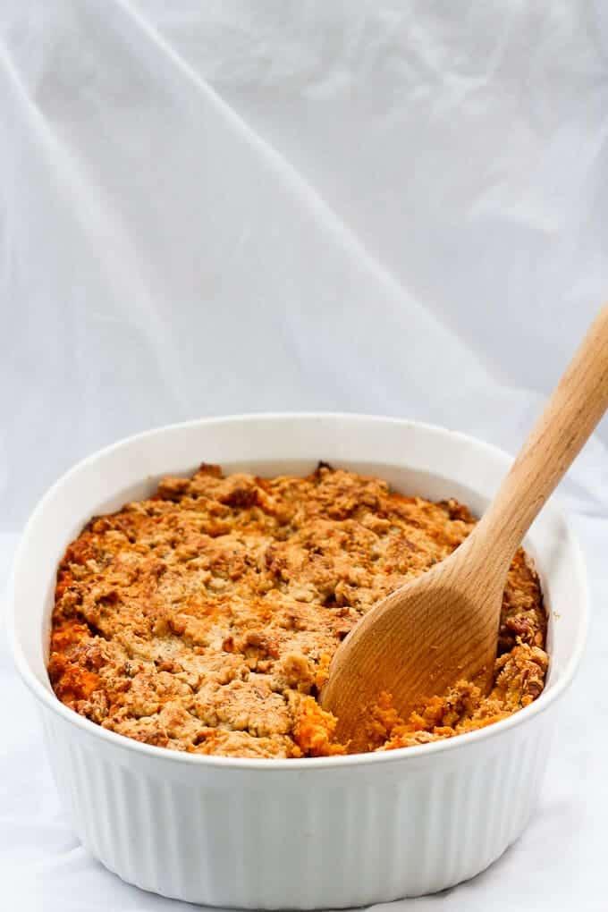 Kentucky Bourbon Sweet Potato Casserole in a serving dish.