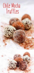 These vegan friendly truffles are made with heavy cream (or coconut cream), rich semi-sweet chocolate, coffee liqueur, and cayenne.