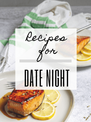 "graphic reads ""recipes for date night"" and includes a photo of salmon"