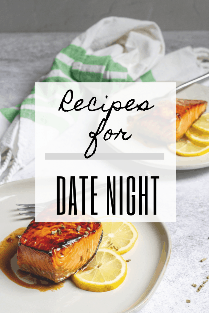 """graphic reads """"recipes for date night"""" and includes a photo of salmon"""