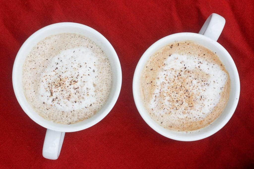 Starbucks Copycat! This Eggnog Latte is a delicious, custardy latte that's easy to make at home with REAL ingredients. Plus, it's a perfect way to use up leftover eggnog! Champagne-Tastes.com