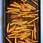 Toss Fries with Oil + Cinnamon
