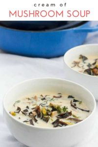 This vegetarian recipe for Cream of Mushroom Soup with Asparagus is easy, homemade, and healthy. No condensed soup!