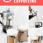 Learn how to make a French press cappuccino or latte, without any espresso maker! All you need is a French press, a milk frother, coffee grounds, and milk.