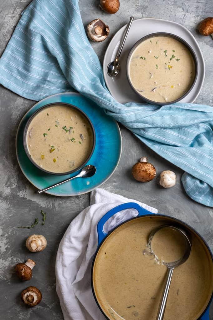 Homemade cream of mushroom soup in bowls