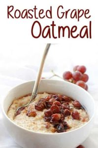 This healthy + vegan Roasted Grape Oatmeal is an easy and healthy breakfast (or brunch) that's cooked on the stovetop.
