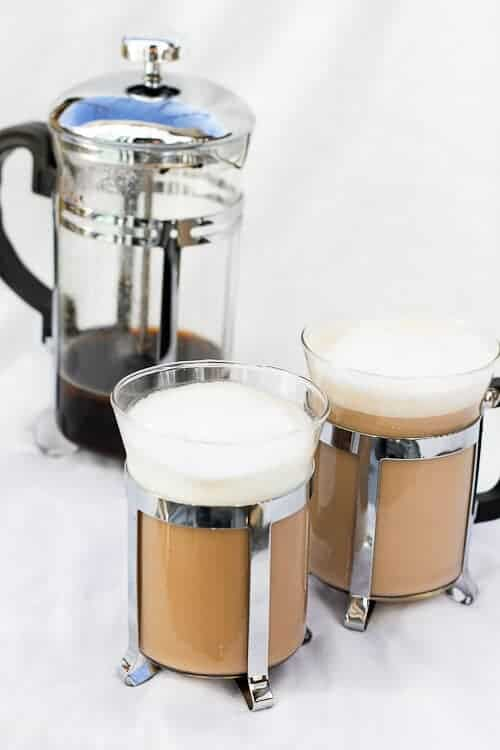 Vanilla French Press Cappuccino in see-through mugs with a French Press pot
