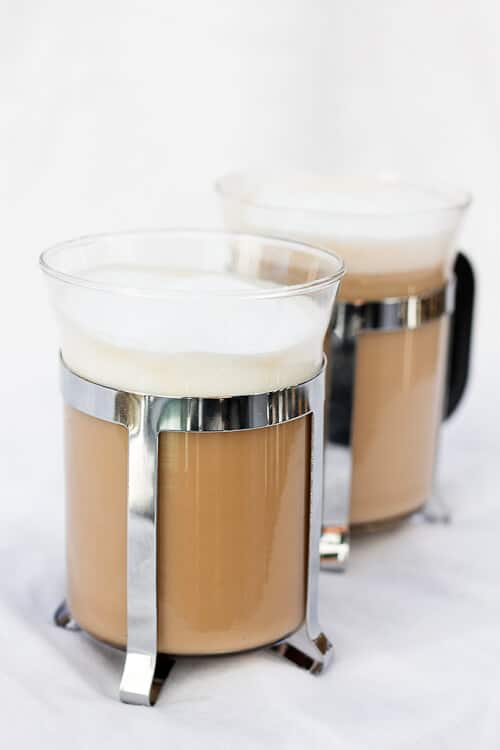 Vanilla French Press Cappuccino in see-through mugs
