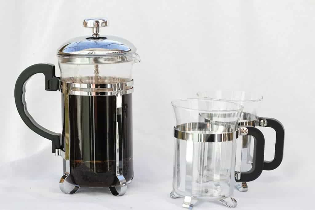 Vanilla French Press Coffee with coffee mugs