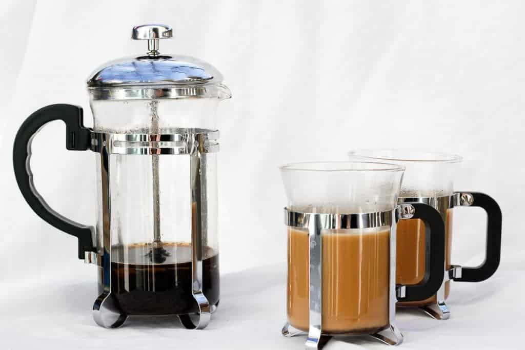 Vanilla French Press Coffee with a French Press and coffee mugs