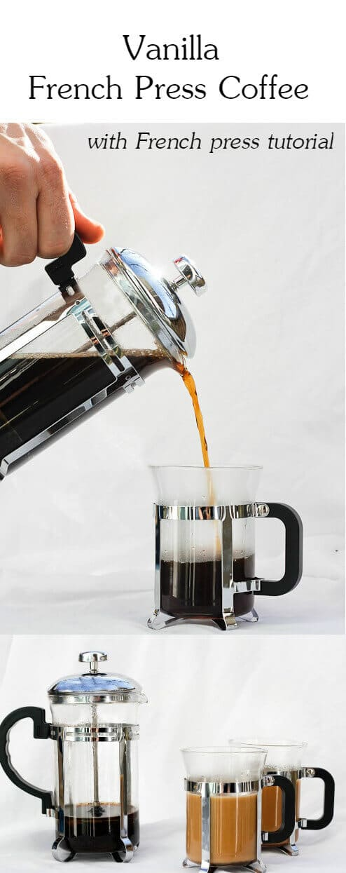Love coffee? This tutorial on How to Make French Press Coffee walks you through how to use your French Press.  Plus- a recipe for Vanilla French Press coffee!