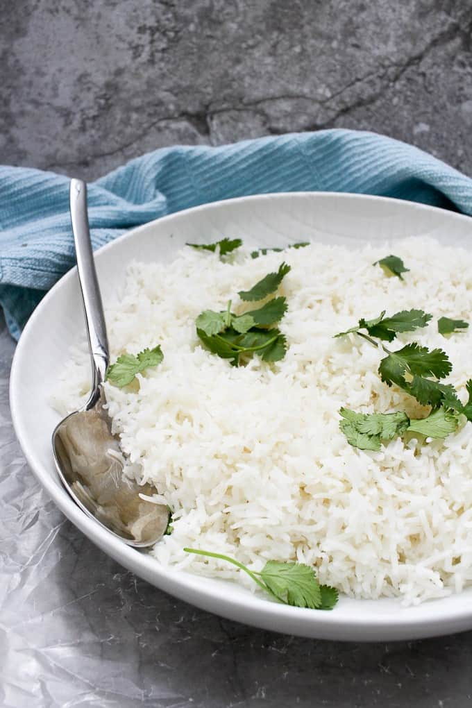 Basmati rice in a serving bowl
