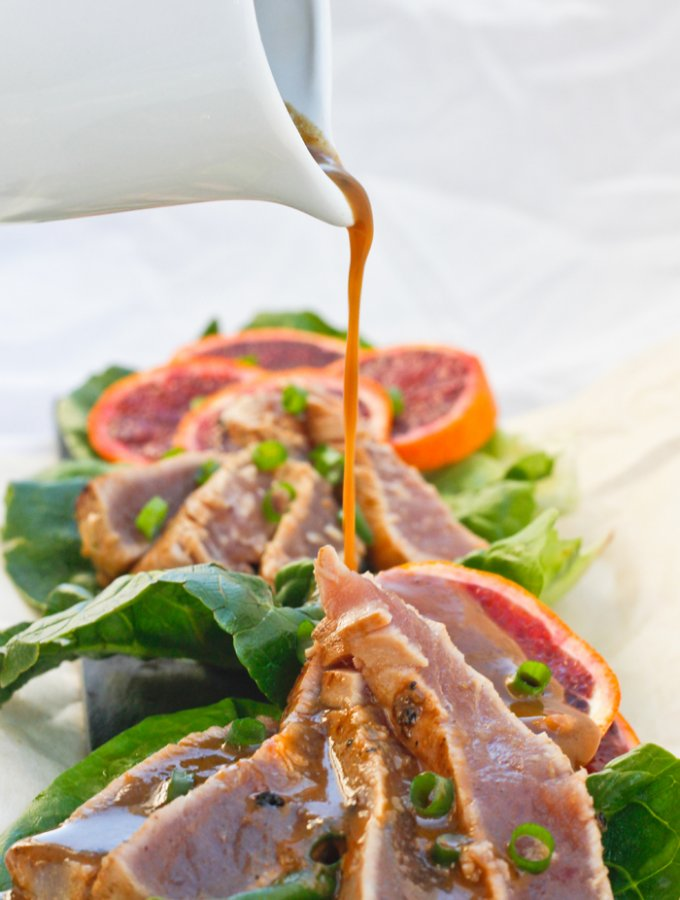 This Ginger Orange Seared Ahi Tuna is a fishy take on Orange Chicken. This delicious dinner show-stopper is easy to prepare and ready in 15 minutes.