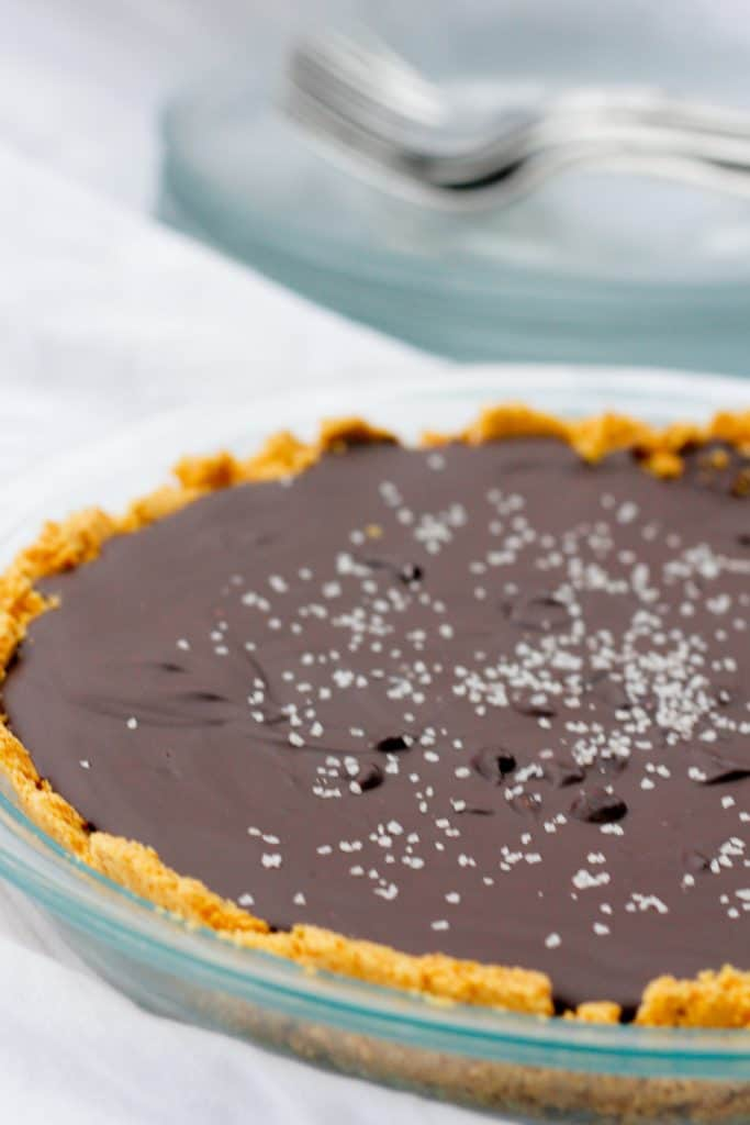 salted bourbon chocolate pie in a pie plate