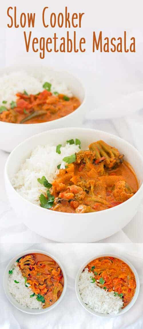 This vegan-friendly Slow Cooker Vegetarian Curry features a creamy Vegetable Masala. It's a delicious and easy Indian curry that needs 5minutes of prep work, and 4 - 8 hours to slowly cook through. #Curry #Vegan #SlowCooker #Recipe