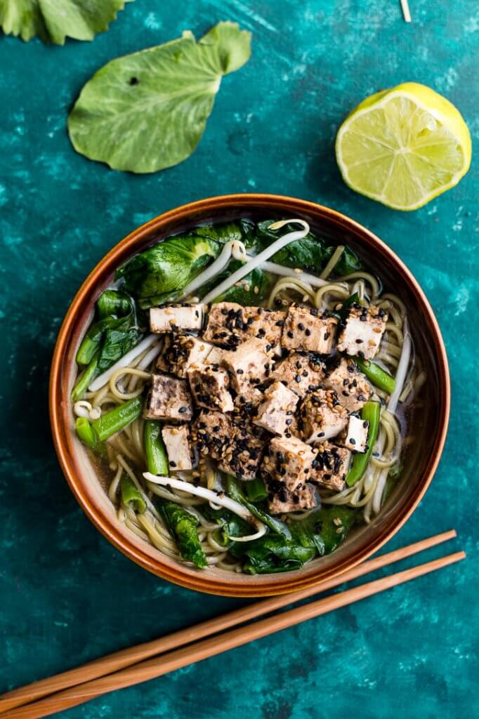 Vegan + Vegetarian Recipes to 'Feed a Cold' - Soba Noodles in Shiitake Mushroom Broth with Sesame Crusted Tofu- from Meg is Well