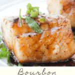 This pan-seared cod with bourbon features flaky white cod topped with a sweet bourbon sauce. And it's ready in about 15 minutes!