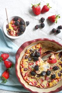 Flognarde Clafoutis in serving dish and in a bowl