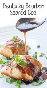 This Kentucky Bourbon Pan-Seared Cod features flaky white cod topped with a sweet bourbon sauce. It's perfect for date night or Derby Day! Best of all-- it's ready in about 15 minutes!