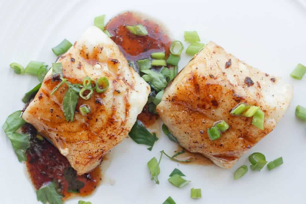 Kentucky Bourbon Seared Cod with Fresh Herbs