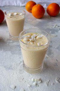 orange smoothie with kefir in glasses