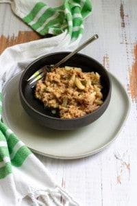Wasabi tuna salad in a serving bowl
