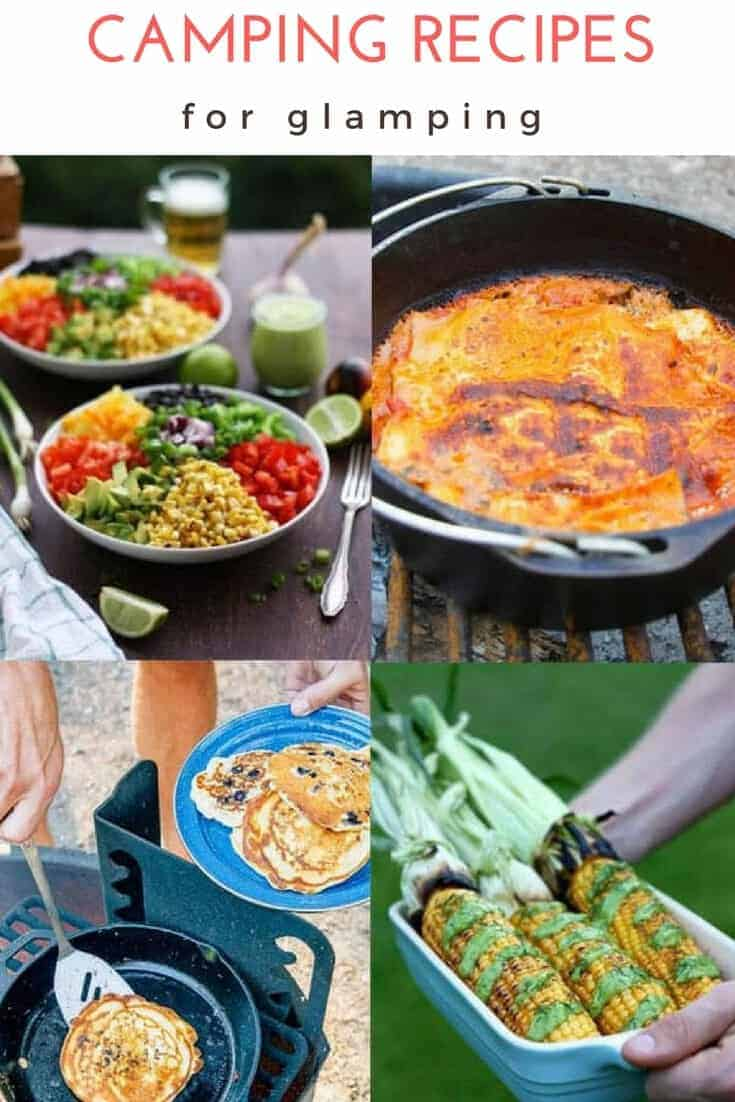 These easy vegan, vegetarian, + seafood camping recipes are perfect for GLAMPING!  Some of these recipes are cooked in tinfoil, some on the campfire in a Dutch Oven, others in a cast iron pan.  Perfect recipes for two, for kids, and for one pot gourmet meals. #Glamping #Camping #Recipes