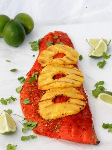 This Grilled Chili Lime Salmon with Pineapple is perfect way to make fish the main meal at your spring and summer cookouts!