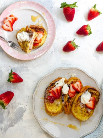 Strawberry Stuffed French Toast with Mascarpone Whipped Cream