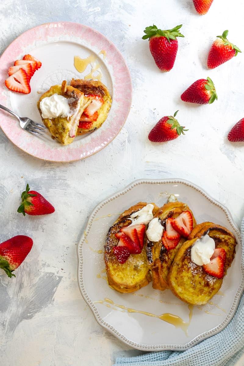 Strawberry Stuffed French Toast with Mascarpone Whipped Cream