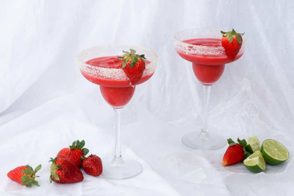 Frozen Strawberry Rhubarb Margaritas with Sugar Rimmed Glasses