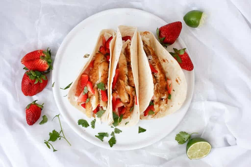 Strawberry Rhubarb Tilapia Tacos  on a Serving Tray