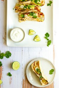 cilantro lime fish tacos on a platter