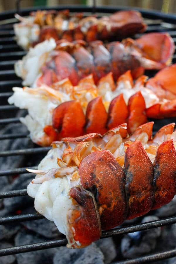 Butterflied Lobster Tails on a Charcoal Grill