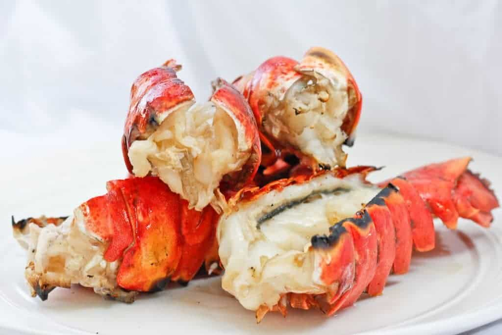 Grilled Bourbon Lobster Tails on a Plate