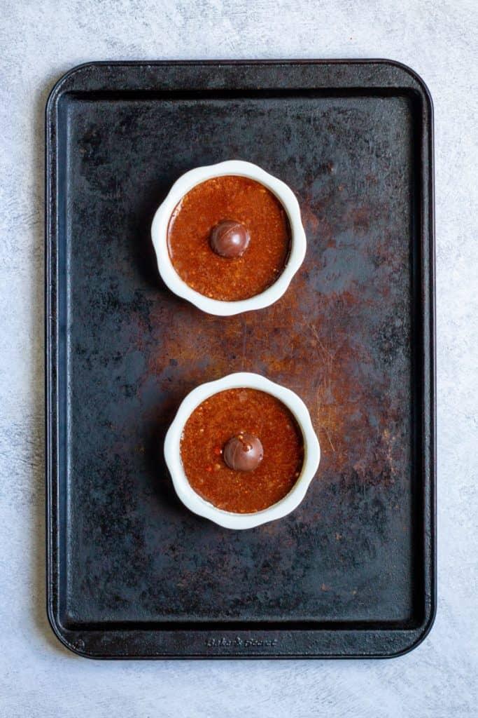 Add Chocolate to Center of the Ramekin