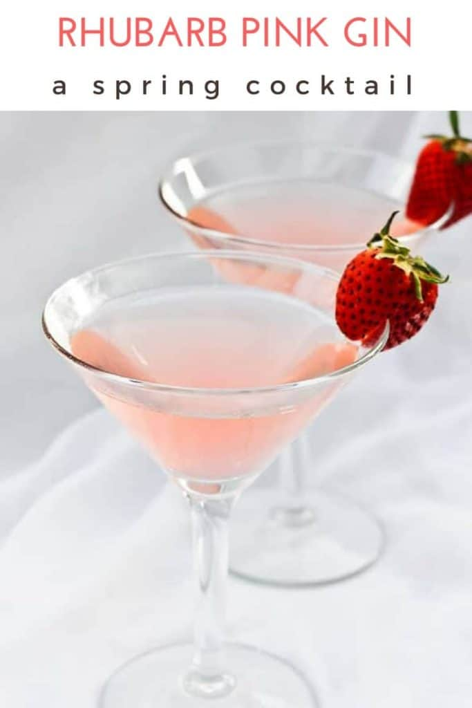 This sophisticated Pink Gin spring cocktail is carefully crafted with a dash of bitters, a splash of rhubarb simple syrup, and of course-- gin.