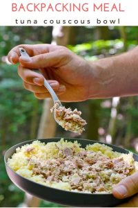 Tuna Couscous Bowl: This backpacking meal is an easy, protein packed, one pot, just add water, hiking lunch or dinner. #backpacking #recipe #camping #seafood #tuna