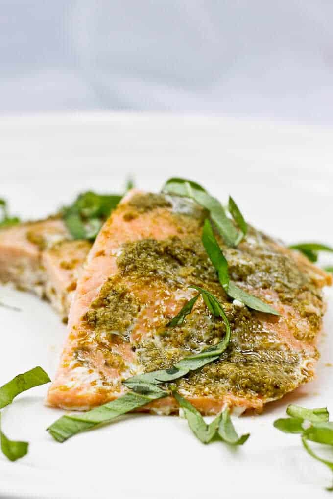 Baked Basil Pesto Salmon Ready to Be Served