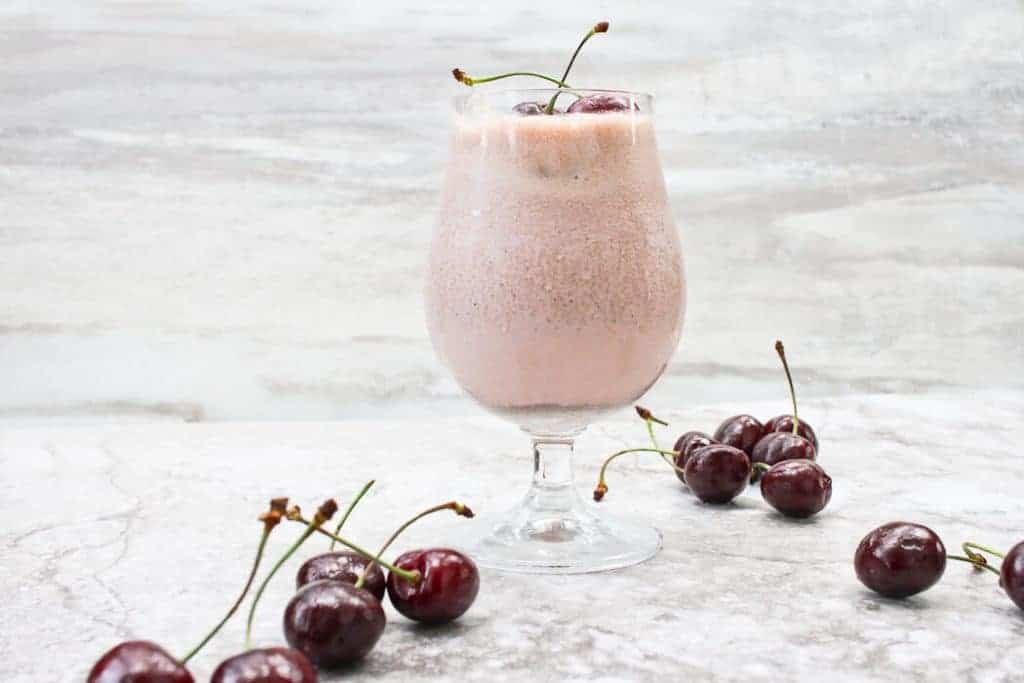 Cherry Chocolate Chip Milkshake with Cherries on Top