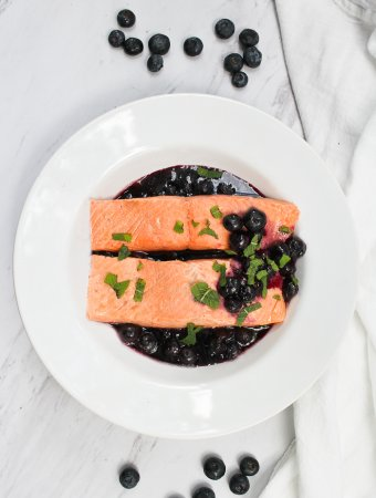 Poached Salmon with Blueberry Sauce