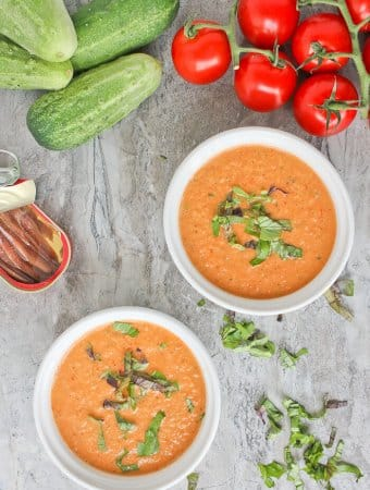 Summer Anchovy Gazpacho with anchovies, cucumbers, and tomatoes