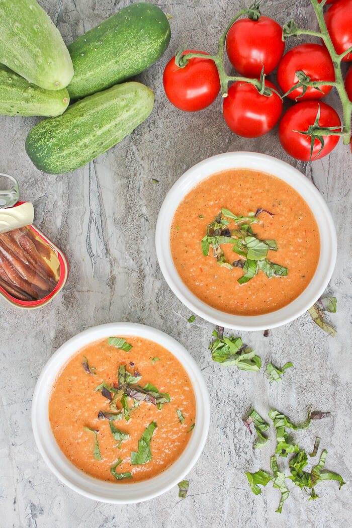 This easy Summer Anchovy Gazpacho is a cold summer soup made with charred tomatoes, fresh cucumber, and an anchovy.