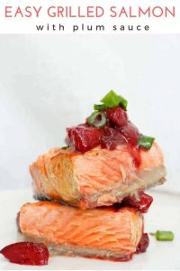 (ad) This easy grilled salmon recipe is topped with a simple plum sauce. The sauce is made with plums, soy sauce, vinegar, + cayenne for a flavor-packed topping!