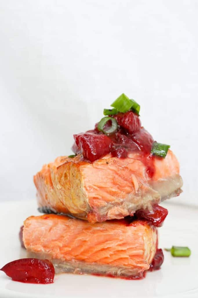 Grilled King Salmon with Plum Sauce on Top