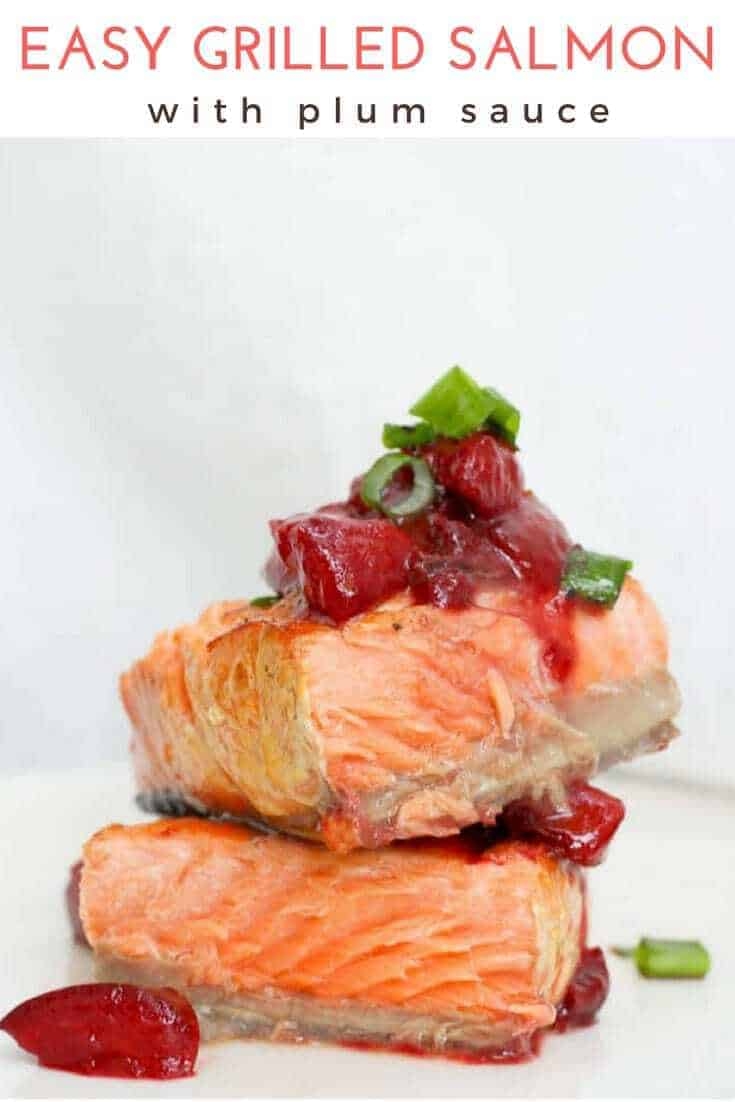 (ad) This easy grilled salmon recipe is topped with a simple plum sauce, and is perfect for summer cookouts or date night.  The sauce is made with plums, soy sauce, vinegar, + cayenne for a flavor-packed topping!
