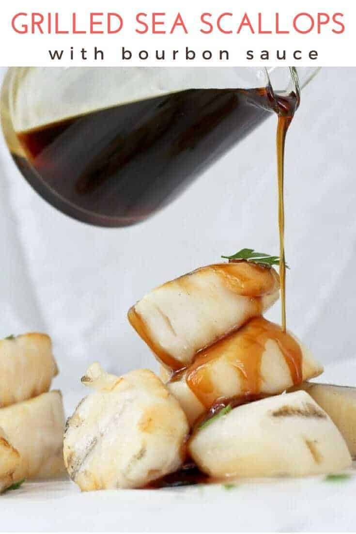 Grilled Scallops with Bourbon Sauce: This easy seafood recipe features sea scallops cooked on skewers, with a butter bourbon sauce.