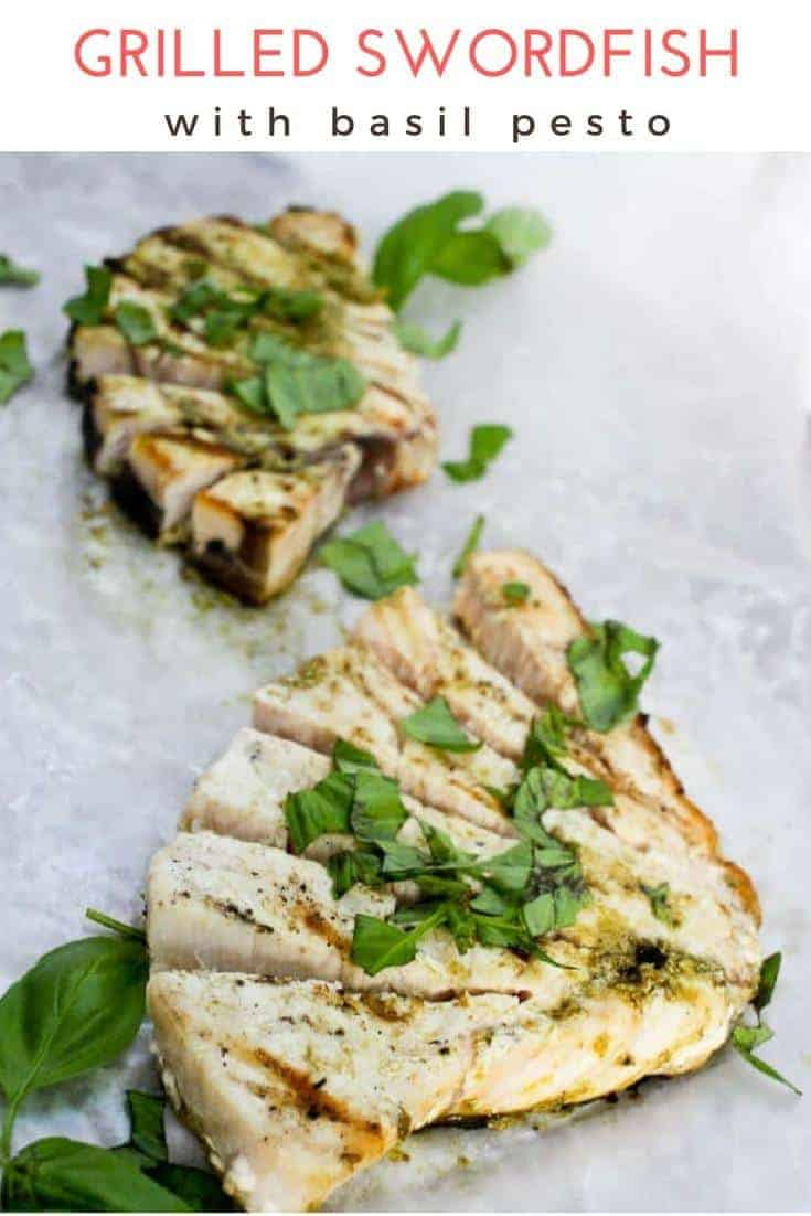 (ad) Grilled Swordfish with Basil Pesto: This easy fish recipe features swordfish steaks brushed with basil and olive oil pesto, and grilled to perfection. Perfect for summer!