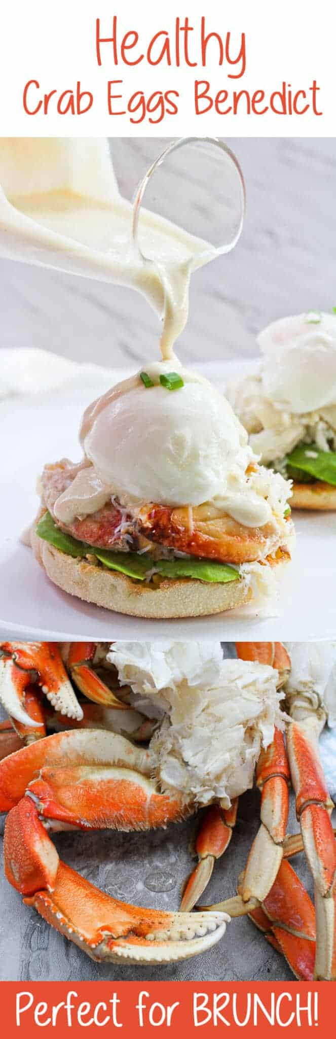 #ad This Healthy Crab Eggs Benedict is made with Dungeness crab legs, a poached egg, and a creamy yogurt sauce, and is a lighter take on the breakfast classic! #crabrecipe #healthy #eggsbenedict #seafoodeggsbenedict #healthyeggsbenedict