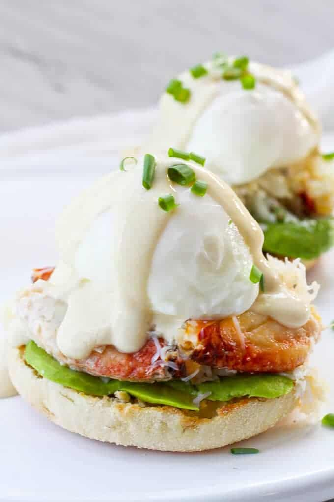 Healthy Crab Eggs Benedict with Yogurt Sauce on Top
